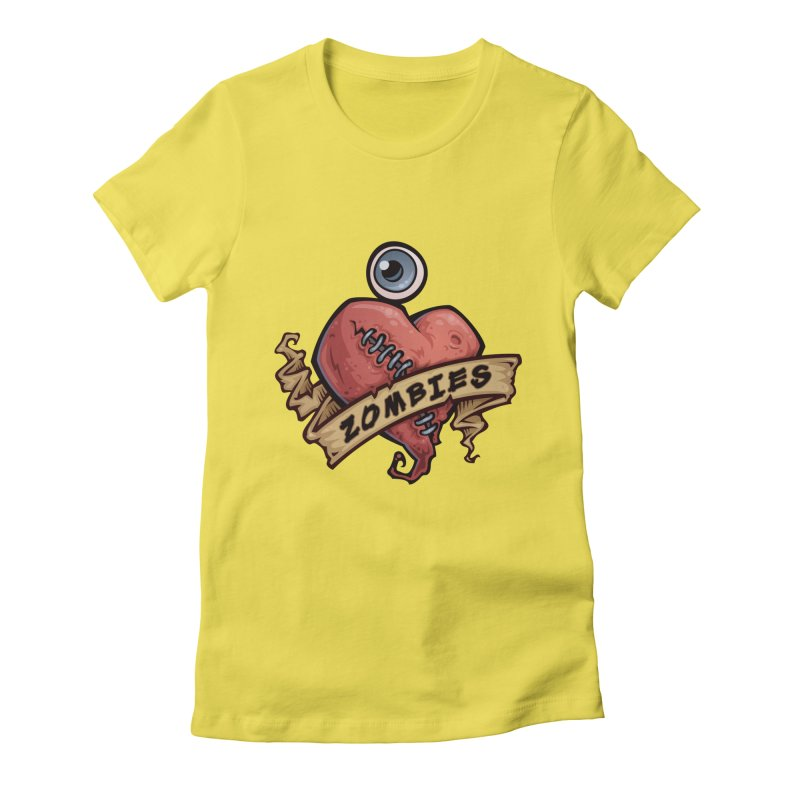I Love Zombies Women's Fitted T-Shirt by Fizzgig's Artist Shop
