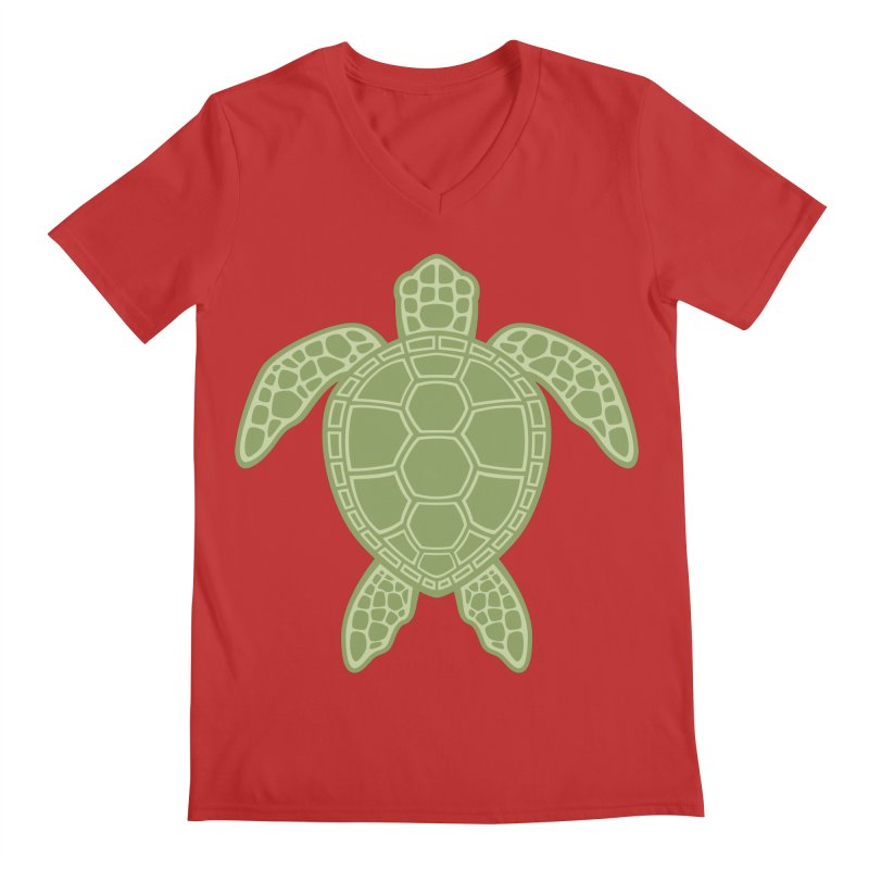 Green Sea Turtle Men's V-Neck by Fizzgig's Artist Shop