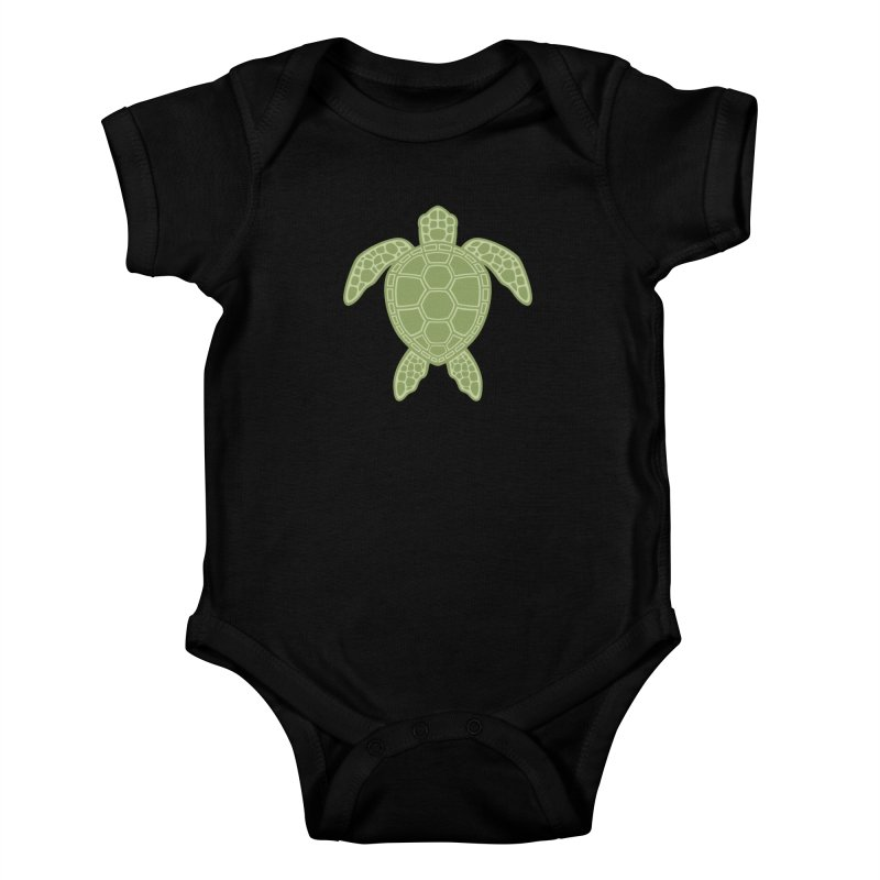 Green Sea Turtle Kids Baby Bodysuit by Fizzgig's Artist Shop