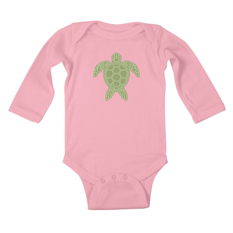 Green Sea Turtle Kids Baby Longsleeve Bodysuit by Fizzgig's Artist Shop