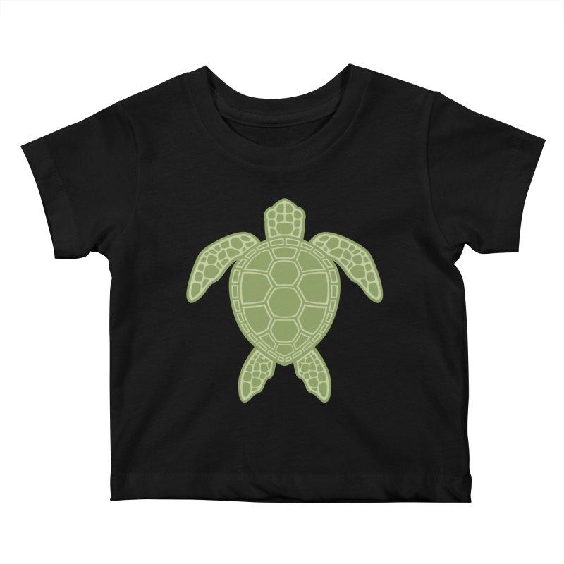 Green Sea Turtle Kids Baby T-Shirt by Fizzgig's Artist Shop