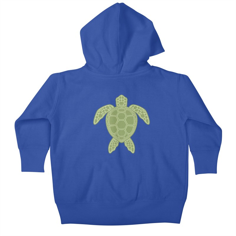 Green Sea Turtle Kids Baby Zip-Up Hoody by Fizzgig's Artist Shop