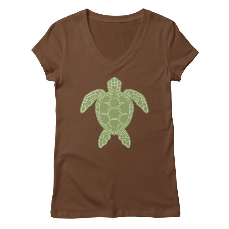 Green Sea Turtle Women's V-Neck by Fizzgig's Artist Shop