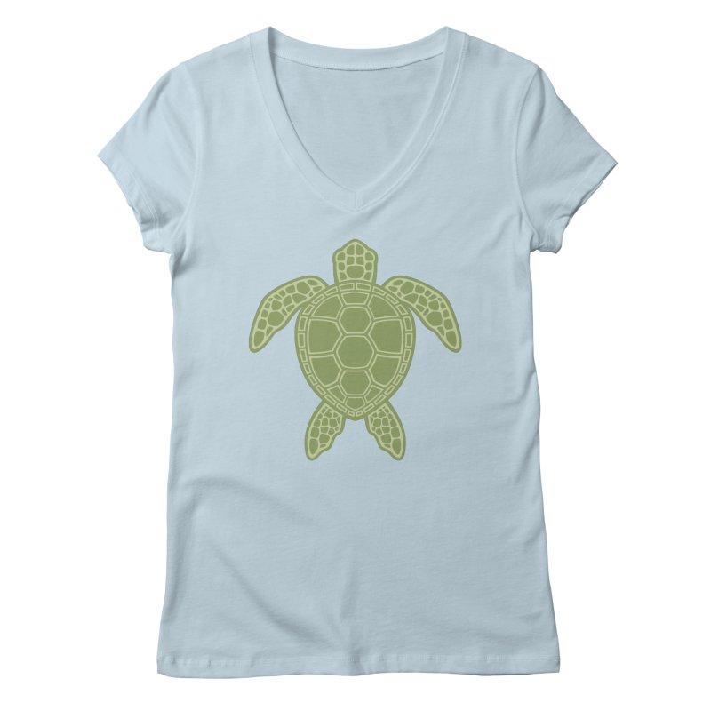 Green Sea Turtle Women's V-Neck by Fizzgig's Artist Shop