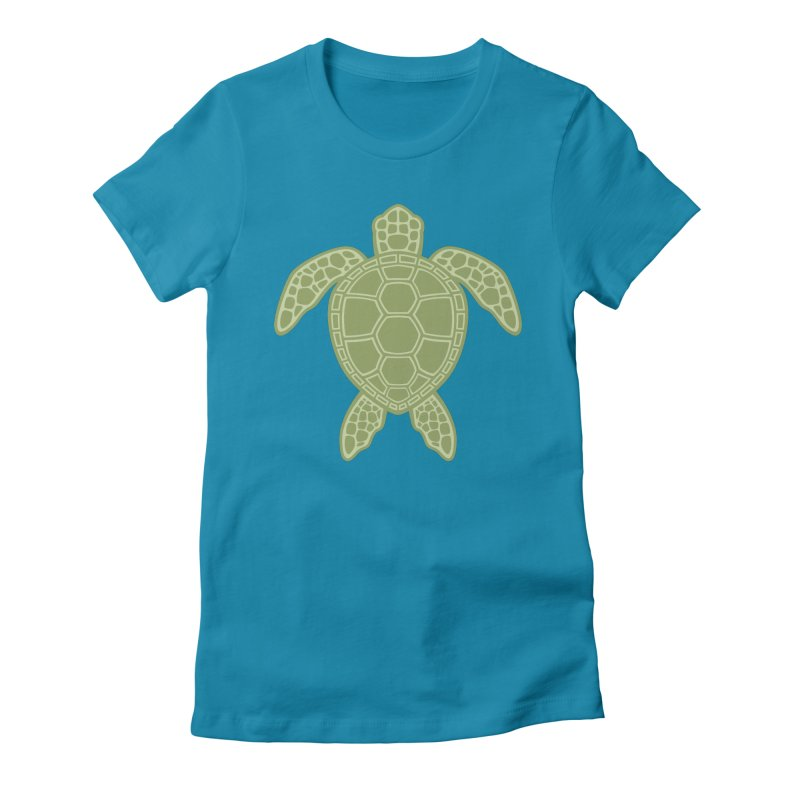Green Sea Turtle Women's Fitted T-Shirt by Fizzgig's Artist Shop