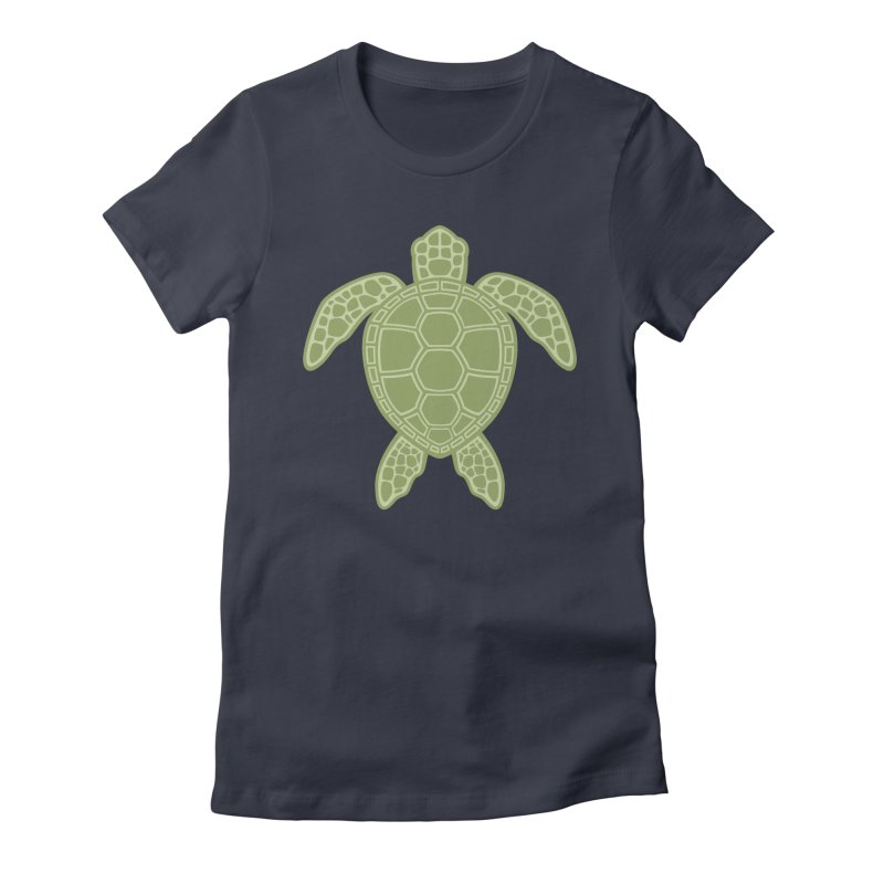 Green Sea Turtle Women's Fitted T-Shirt by Fizzgig's Artist Shop