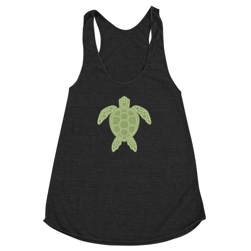 Green Sea Turtle Women's Racerback Triblend Tank by Fizzgig's Artist Shop
