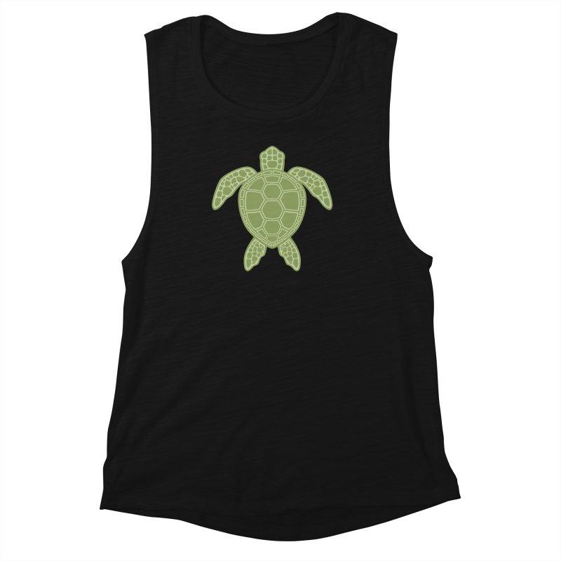 Green Sea Turtle Women's Muscle Tank by Fizzgig's Artist Shop