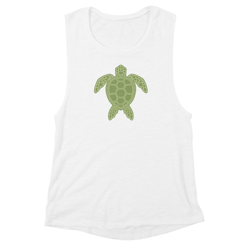 Green Sea Turtle Women's Muscle Tank by Fizzgig's Artist Shop