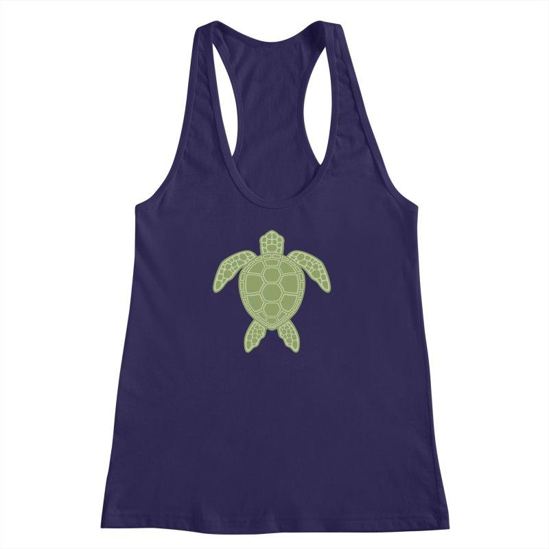 Green Sea Turtle Women's Racerback Tank by Fizzgig's Artist Shop