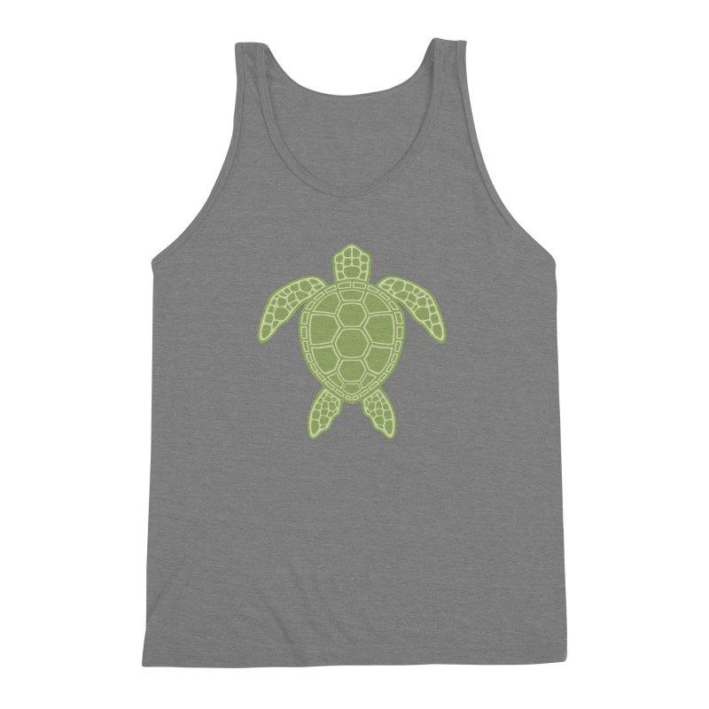 Green Sea Turtle Men's Triblend Tank by Fizzgig's Artist Shop