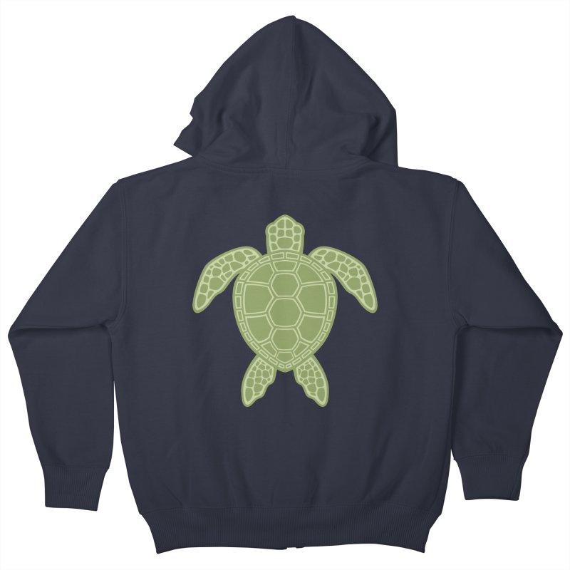 Green Sea Turtle Kids Zip-Up Hoody by Fizzgig's Artist Shop