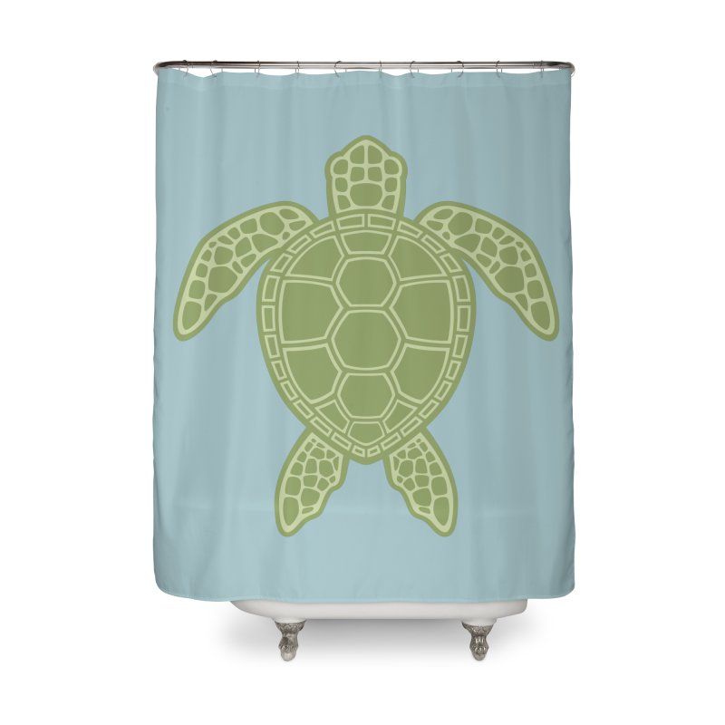Green Sea Turtle Home Shower Curtain by Fizzgig's Artist Shop