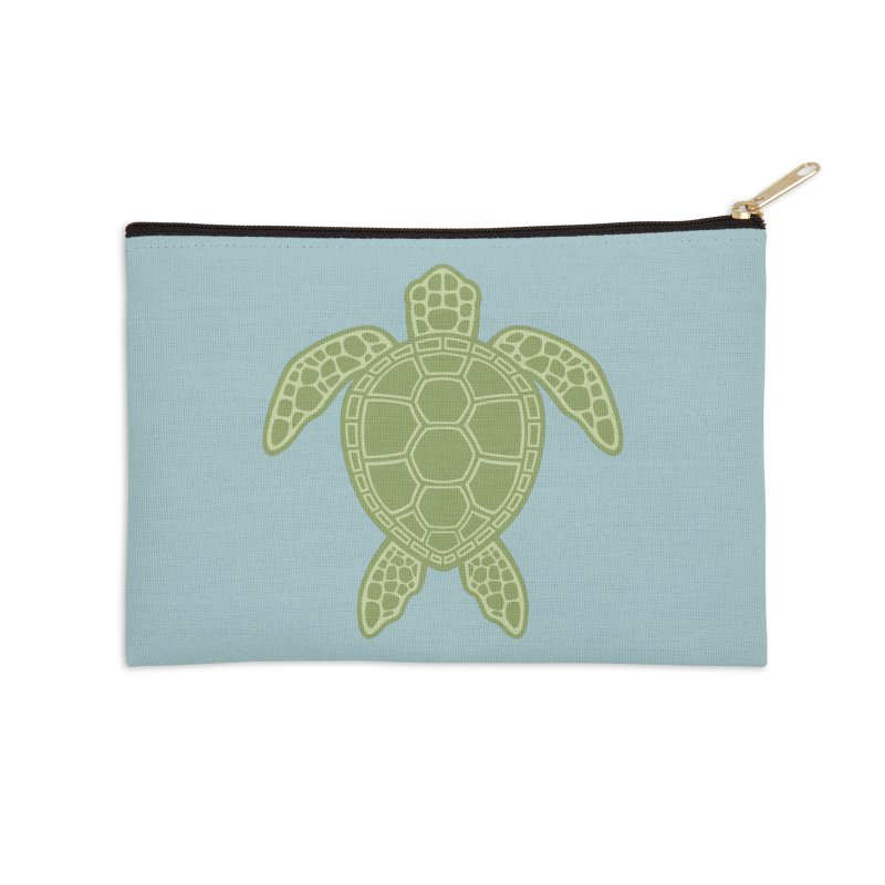 Green Sea Turtle Accessories Zip Pouch by Fizzgig's Artist Shop