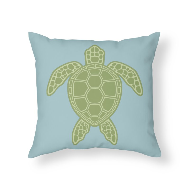 Green Sea Turtle Home Throw Pillow by Fizzgig's Artist Shop