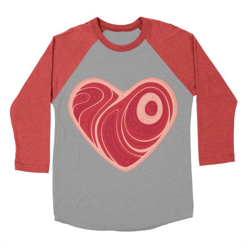 Meat Heart Men's Baseball Triblend T-Shirt by Fizzgig's Artist Shop