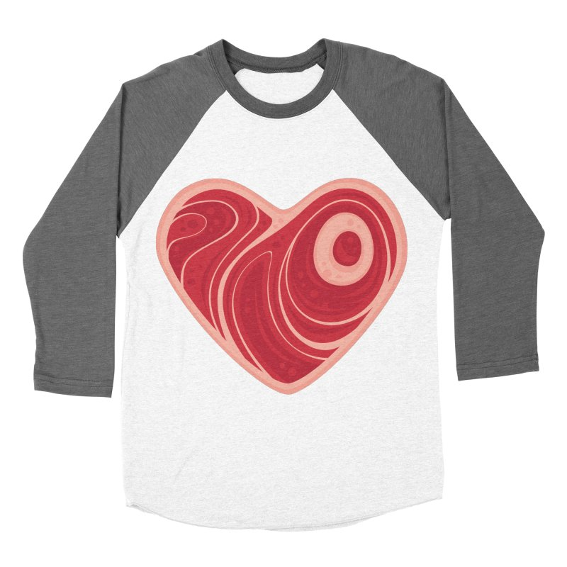 Meat Heart Men's Baseball Triblend T-Shirt by Fizzgig's Artist Shop