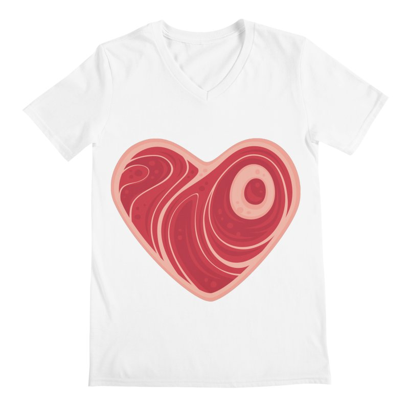 Meat Heart Men's V-Neck by Fizzgig's Artist Shop