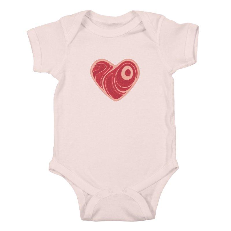 Meat Heart Kids Baby Bodysuit by Fizzgig's Artist Shop