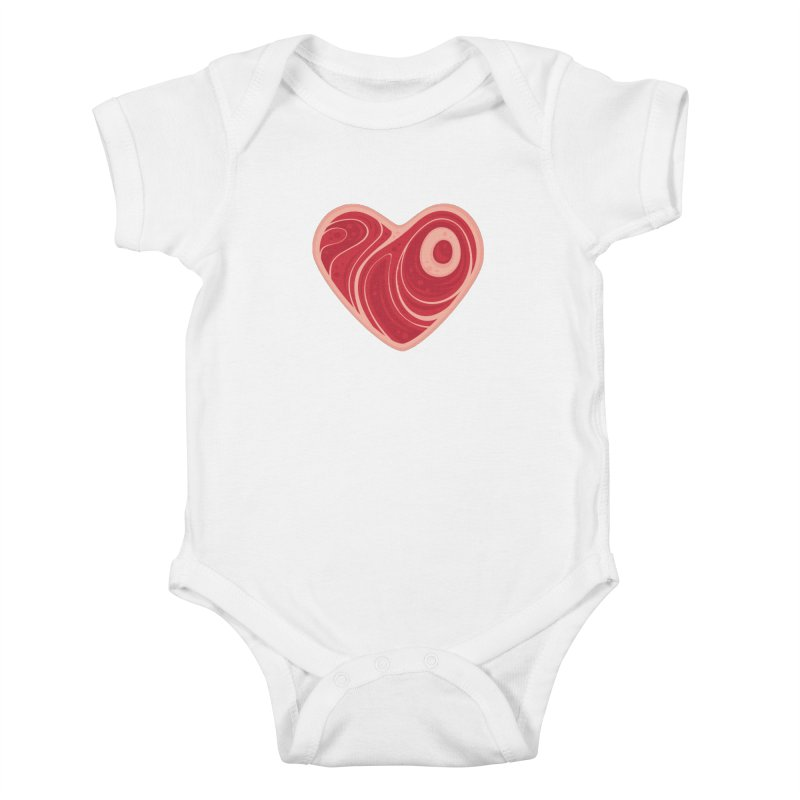 Meat Heart Kids Baby Bodysuit by Fizzgig's Artist Shop