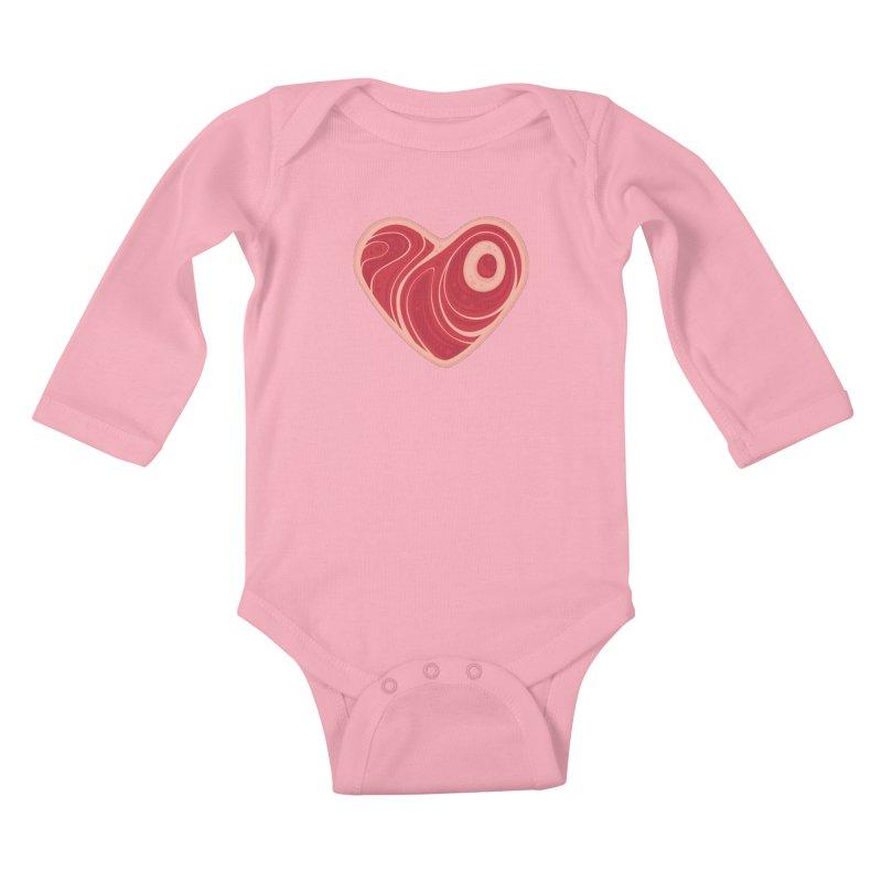 Meat Heart Kids Baby Longsleeve Bodysuit by Fizzgig's Artist Shop
