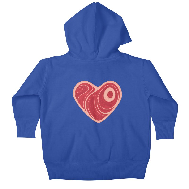 Meat Heart Kids Baby Zip-Up Hoody by Fizzgig's Artist Shop