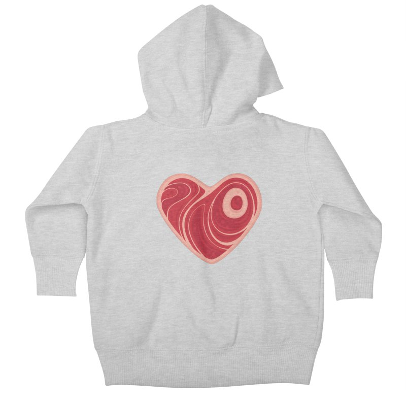 Meat Heart Kids Baby Zip-Up Hoody by Fizzgig's Artist Shop