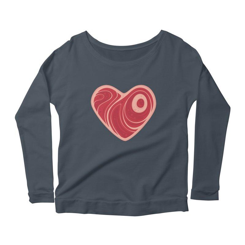Meat Heart Women's Longsleeve Scoopneck  by Fizzgig's Artist Shop