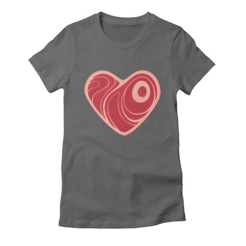 Meat Heart Women's Fitted T-Shirt by Fizzgig's Artist Shop