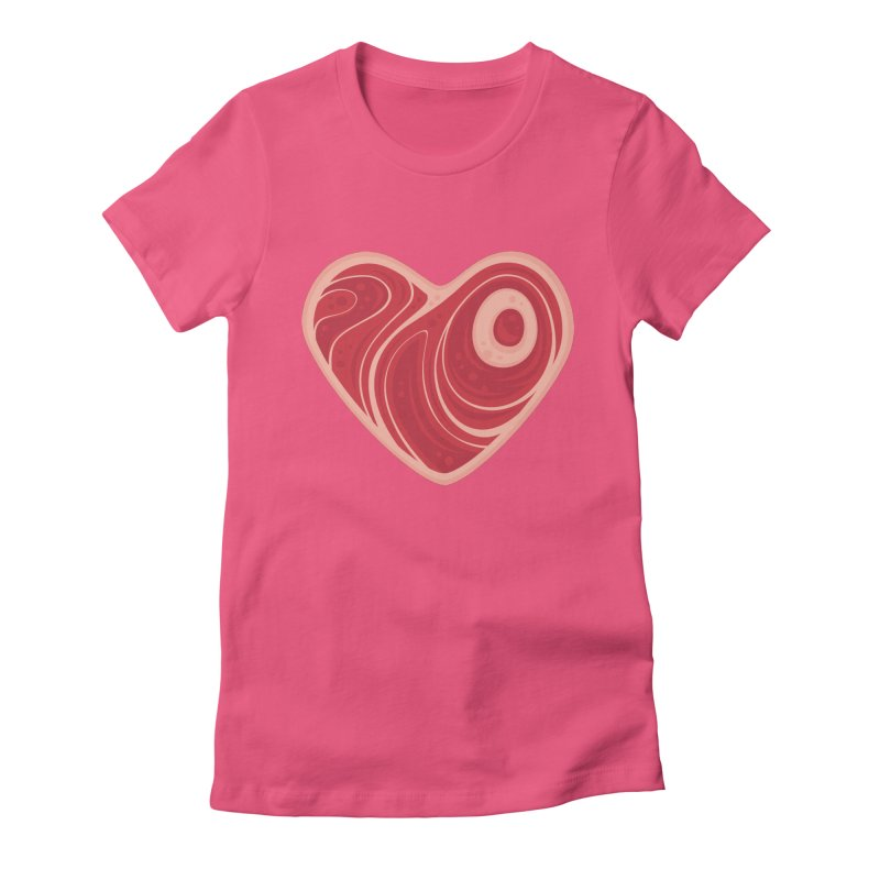 Meat Heart Women's Fitted T-Shirt by Fizzgig's Artist Shop