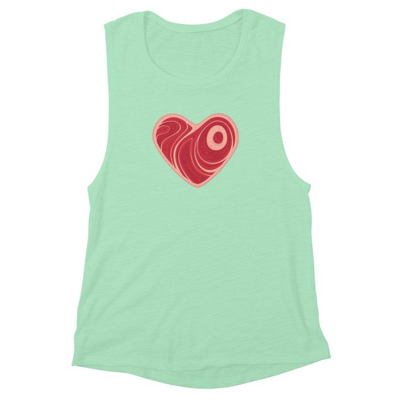 Meat Heart Women's Muscle Tank by Fizzgig's Artist Shop