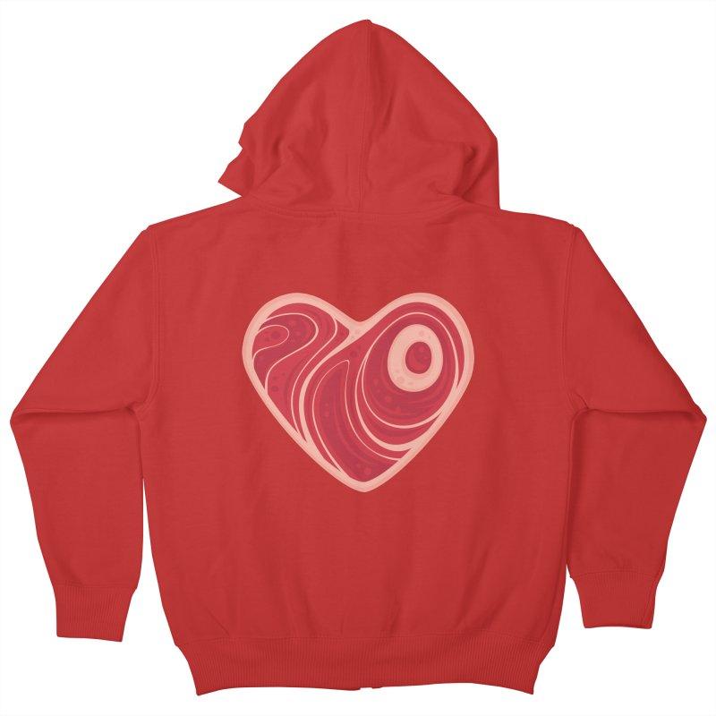 Meat Heart Kids Zip-Up Hoody by Fizzgig's Artist Shop