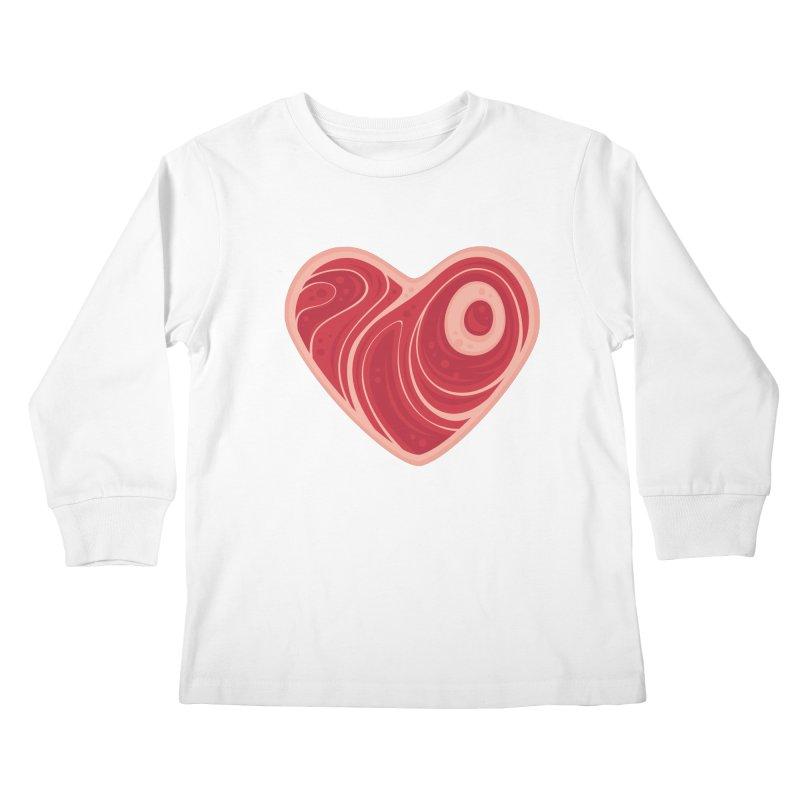 Meat Heart Kids Longsleeve T-Shirt by Fizzgig's Artist Shop