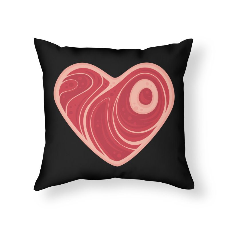 Meat Heart Home Throw Pillow by Fizzgig's Artist Shop
