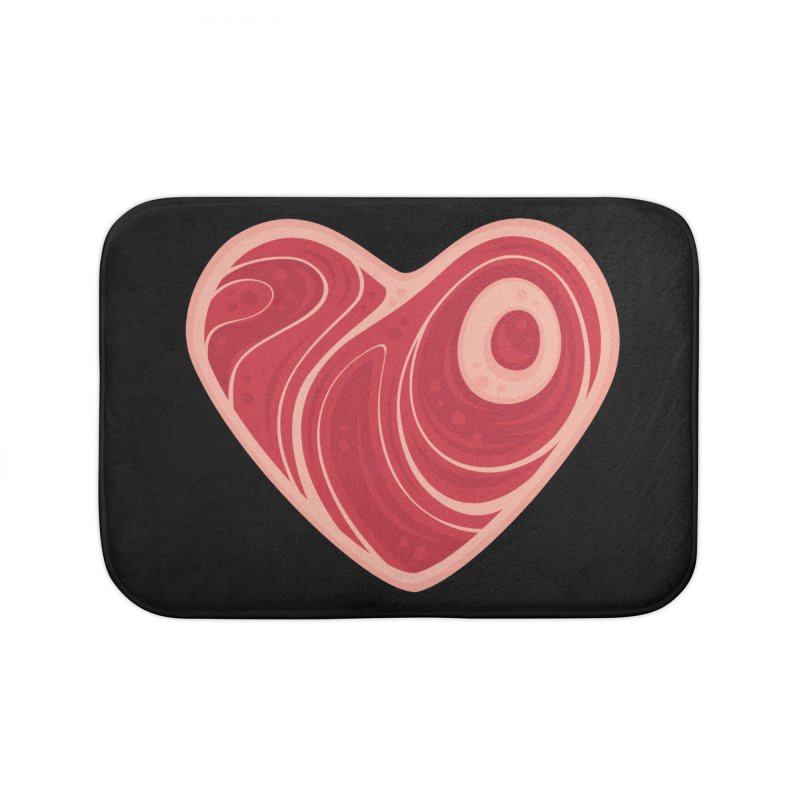 Meat Heart Home Bath Mat by Fizzgig's Artist Shop