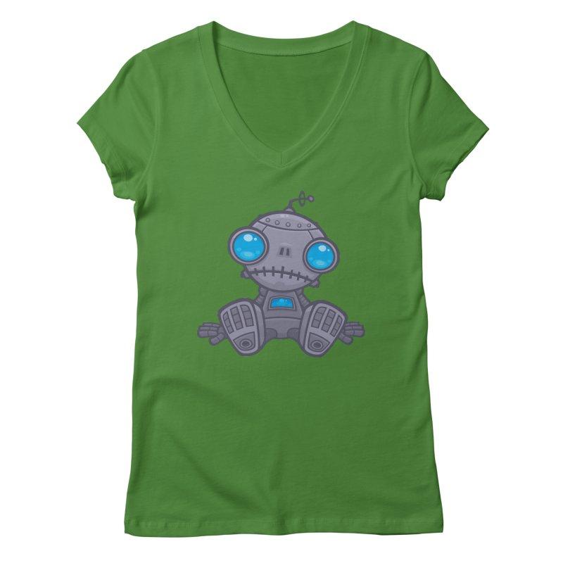 Sad Robot Women's V-Neck by Fizzgig's Artist Shop
