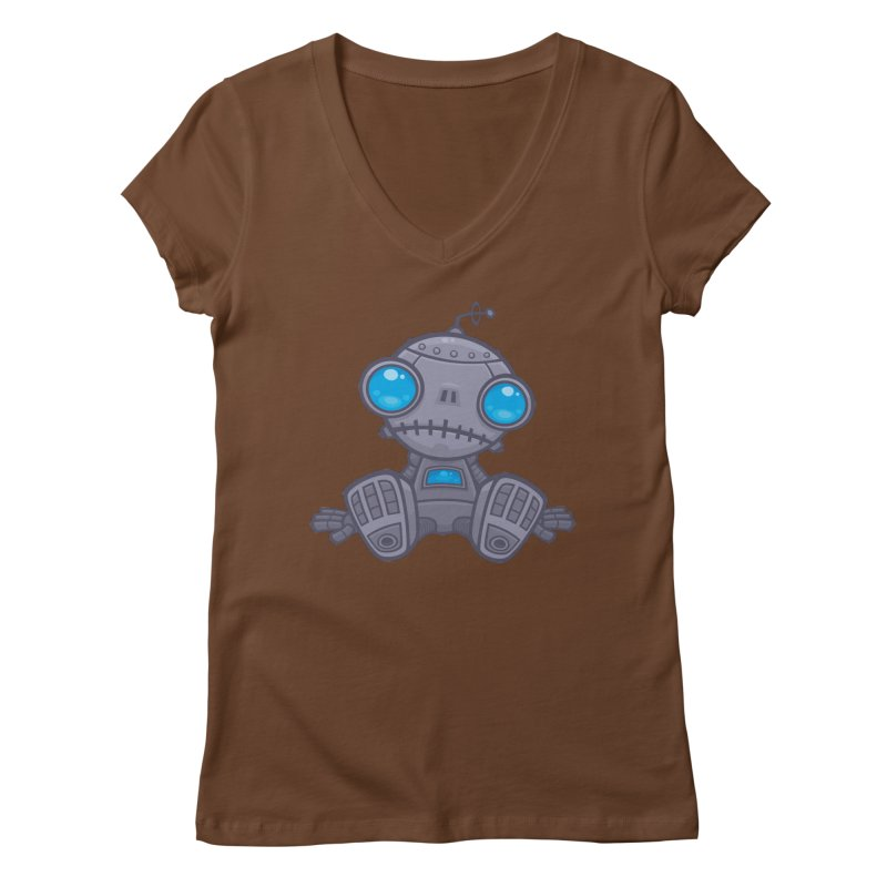 Sad Robot Women's V-Neck by Fizzgig's Artist Shop