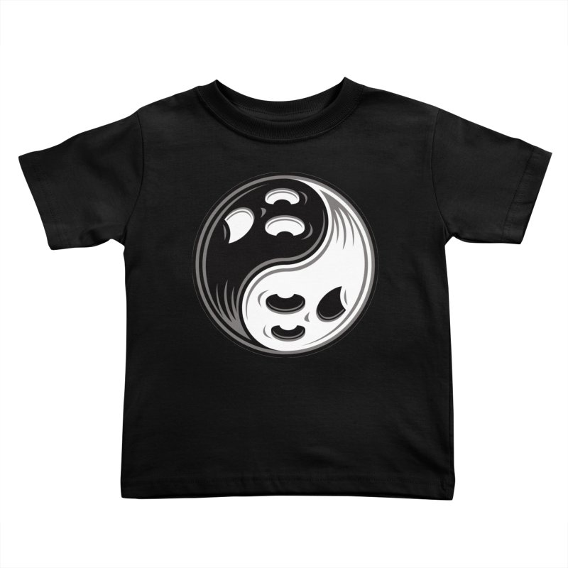 Ghost Yin Yang Black and White Kids Toddler T-Shirt by Fizzgig's Artist Shop