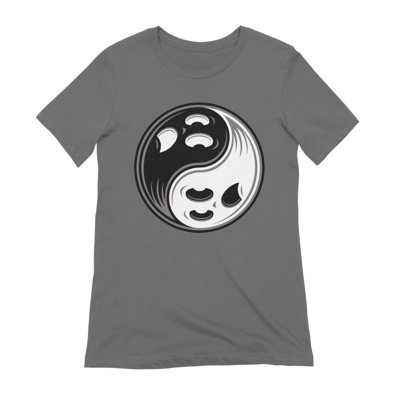 Ghost Yin Yang Black and White Women's T-Shirt by Fizzgig's Artist Shop
