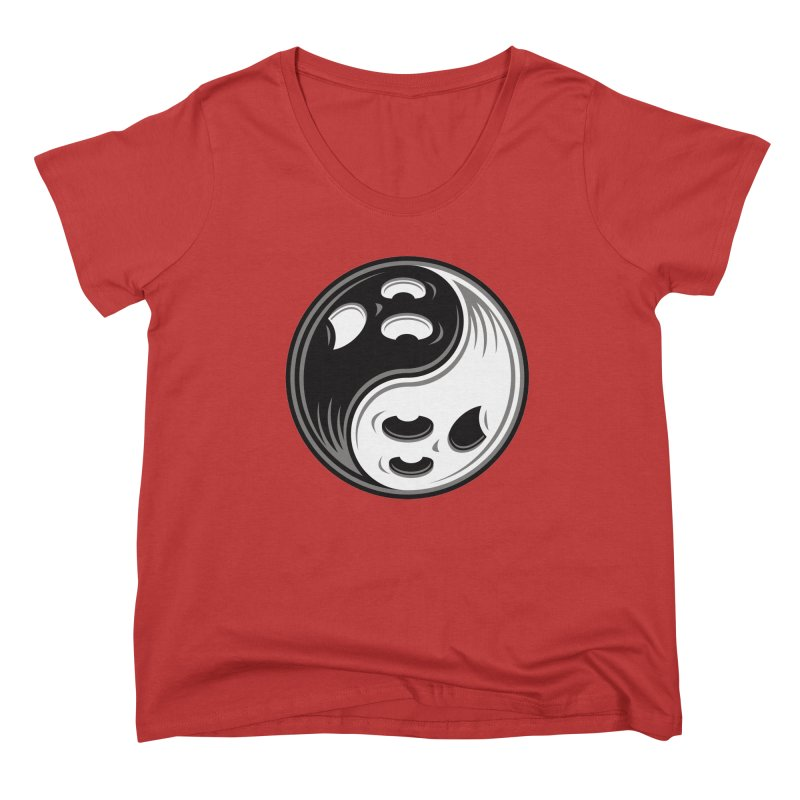 Ghost Yin Yang Black and White Women's Scoop Neck by Fizzgig's Artist Shop