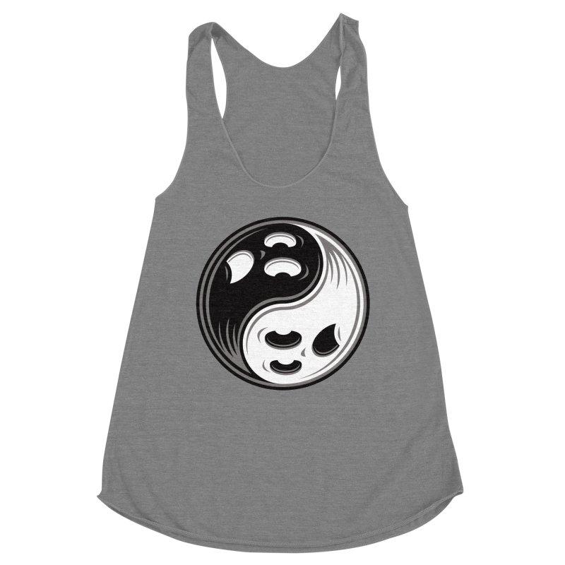 Ghost Yin Yang Black and White Women's Tank by Fizzgig's Artist Shop