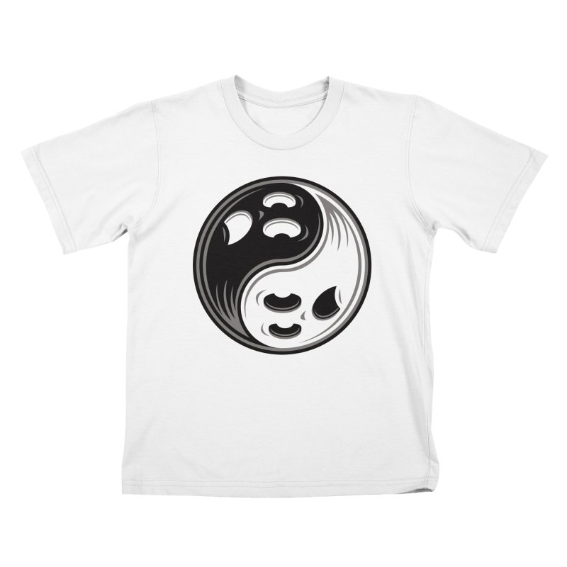 Ghost Yin Yang Black and White Kids T-Shirt by Fizzgig's Artist Shop