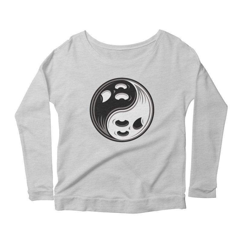 Ghost Yin Yang Black and White Women's Longsleeve T-Shirt by Fizzgig's Artist Shop