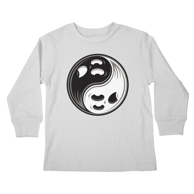 Ghost Yin Yang Black and White Kids Longsleeve T-Shirt by Fizzgig's Artist Shop