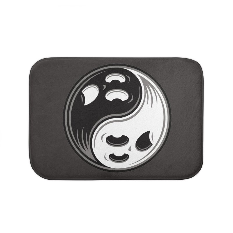 Ghost Yin Yang Black and White Home Bath Mat by Fizzgig's Artist Shop