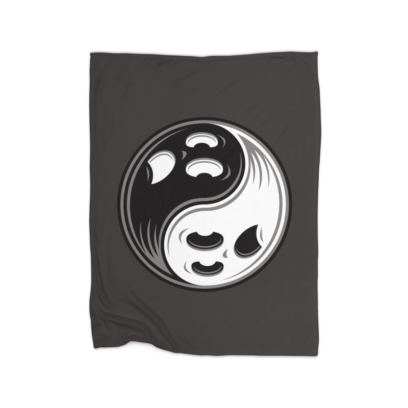 Ghost Yin Yang Black and White Home Blanket by Fizzgig's Artist Shop