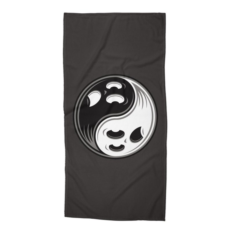 Ghost Yin Yang Black and White Accessories Beach Towel by Fizzgig's Artist Shop