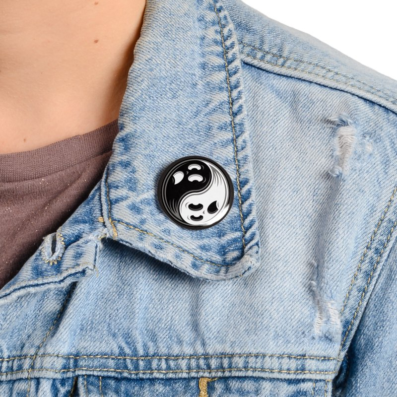 Ghost Yin Yang Black and White Accessories Button by Fizzgig's Artist Shop