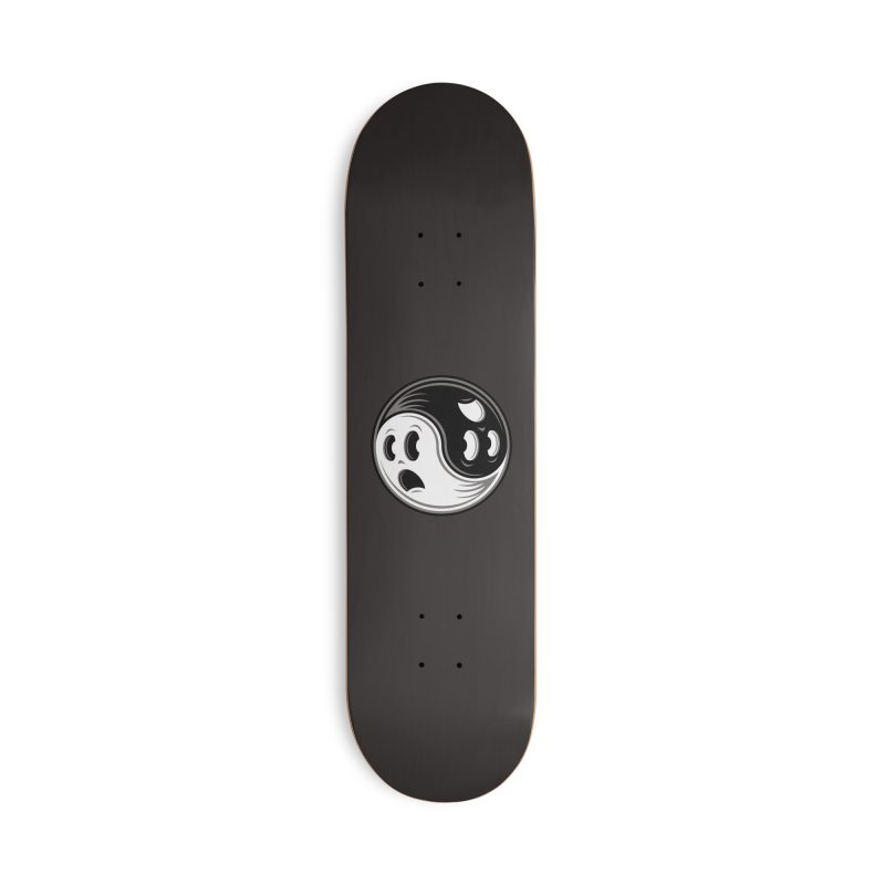 Ghost Yin Yang Black and White Accessories Skateboard by Fizzgig's Artist Shop