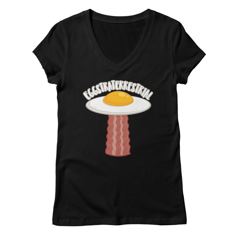 Eggstraterrestrial With Text Women's V-Neck by Fizzgig's Artist Shop